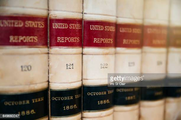 Close up of report reference books