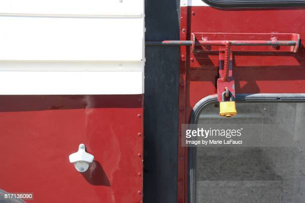 close up of retro-styled red bus - nuts magazine stock pictures, royalty-free photos & images