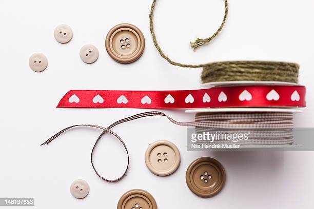 Close up of ribbon, string and buttons