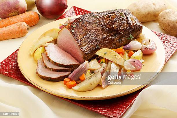 Close up of roast beef and vegetables