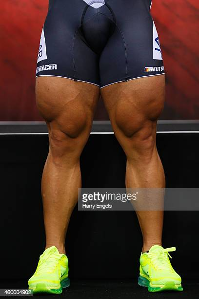 A close up of Robert Forstemann of Germany's legs as he stands on the podium after winning the Men's Team Sprint final on day one of the UCI Track...