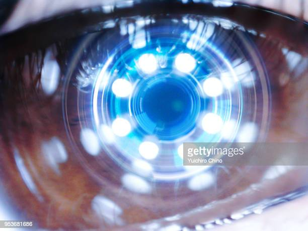 close up of robot eye - eyesight stock photos and pictures
