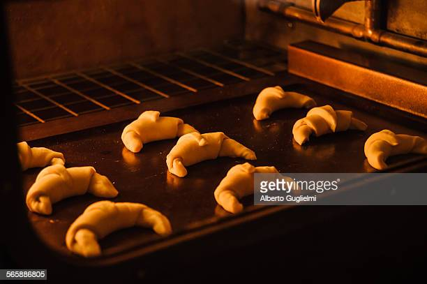Close up of rolls baking in oven