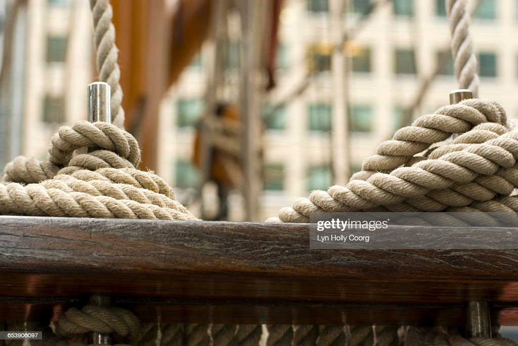 Close up of rope on sailing ship : Stock Photo
