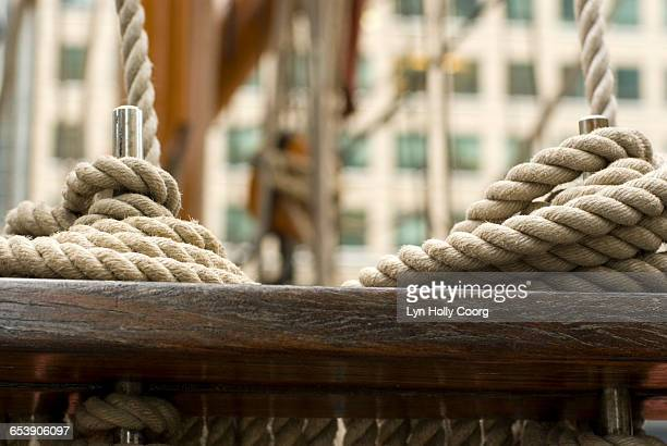 close up of rope on sailing ship - lyn holly coorg stock pictures, royalty-free photos & images