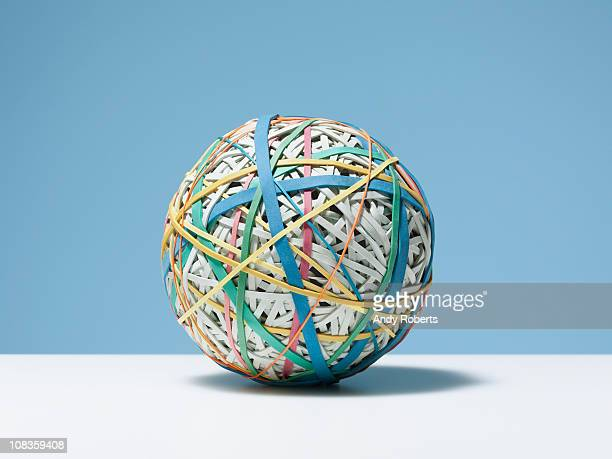 Close up of rubber band ball