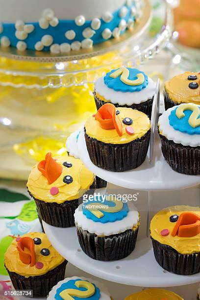 Close up of rubber duck theme cupcakes.