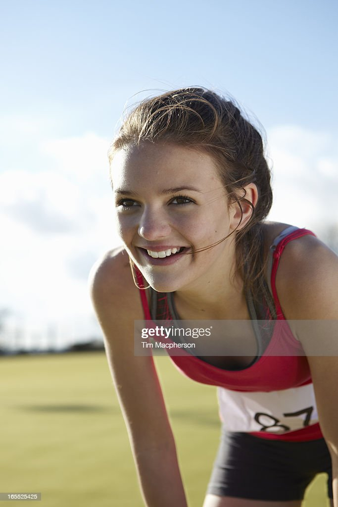 Close up of runners smiling face : Stock Photo