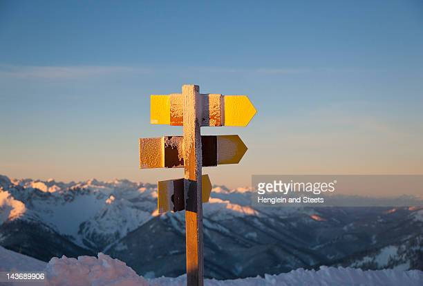 Close up of rural signposts in snow