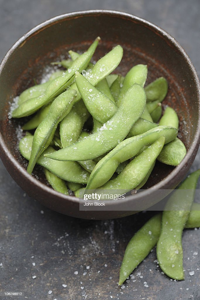 Close up of salted edamame in bowl : Stock Photo