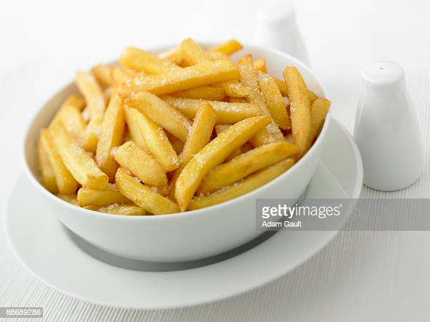 Close up of salted french fries