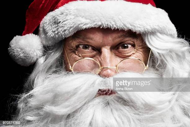 close up of  santa claus's face. debica, poland - santa face stockfoto's en -beelden