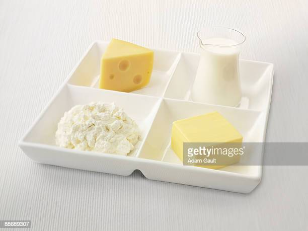 Close up of sectioned plate with cheese, cottage cheese, butter and milk