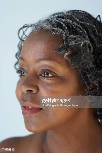 Close up of senior African woman