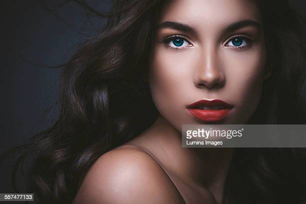 Close up of serious glamorous woman