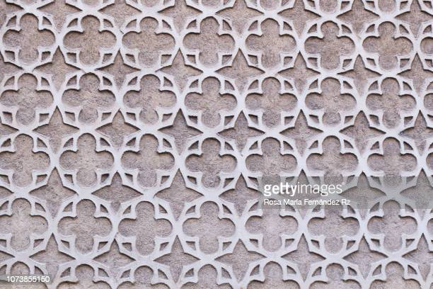 close up of sgraffito on walls in segovia, castilla leon, spain - geometrical architecture stock photos and pictures