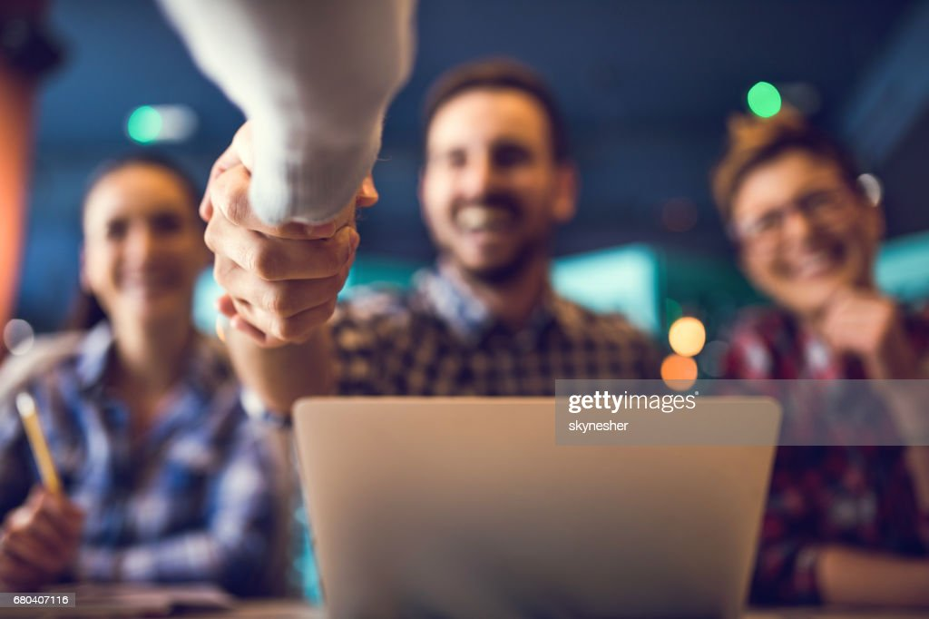 Close up of shaking hands after successful agreement. : Stock Photo