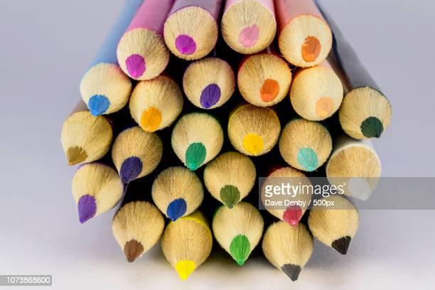 close up of sharpened colouring pencils - colouring bildbanksfoton och bilder