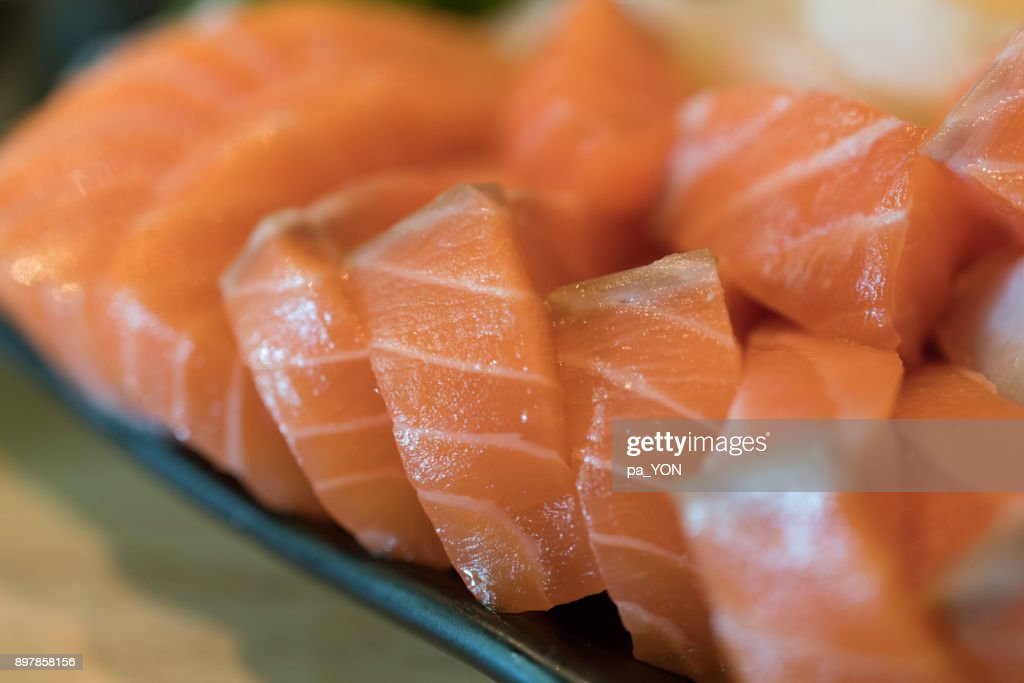 Close up of shashimi Japanese food, hamachi and salmon and Scallop : Stock Photo