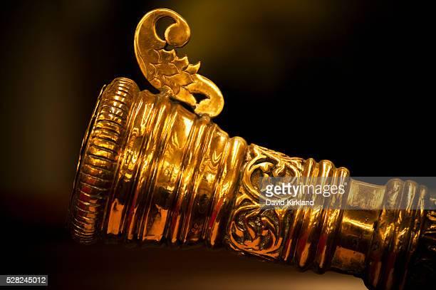 Close up of shield in Royal Regalia Museum; Bandar Seri Begawan, Brunei