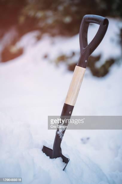 close up of shovel stuck in the snow - cris cantón photography fotografías e imágenes de stock