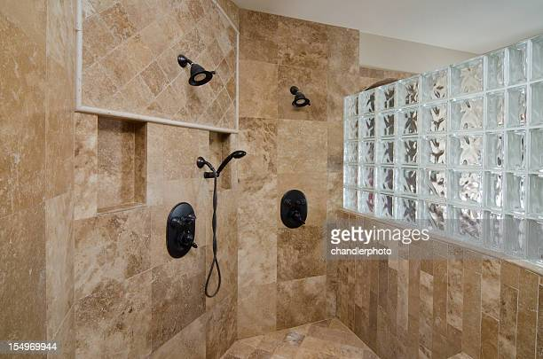 Close up of shower and tile design