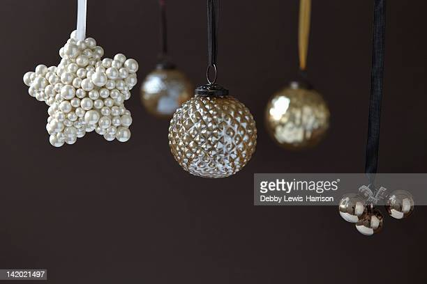 Close up of silver Christmas ornaments