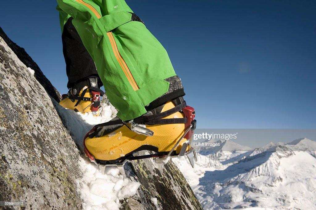 Close up of ski boot with capron, Weissenseegletscher, Salzburg, Austria : Stock Photo