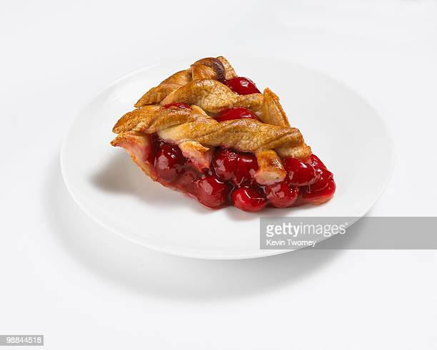 Close up of slice of cherry pie