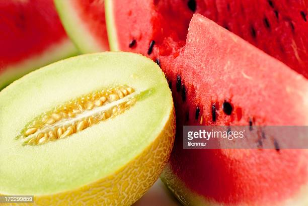 close up of sliced melon and watermelon - watermelon stock pictures, royalty-free photos & images