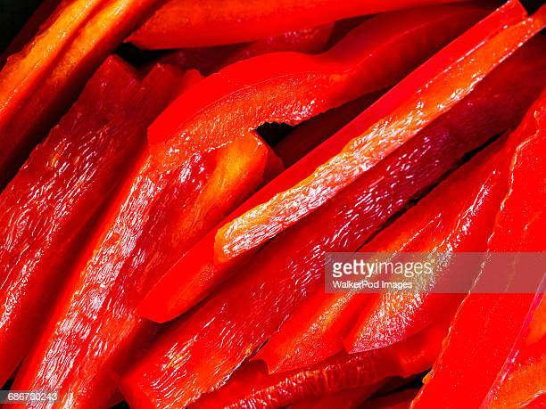 close up of sliced red bell pepper - red bell pepper stock pictures, royalty-free photos & images