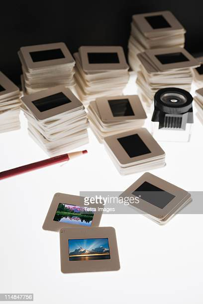 Close up of slides and on light box