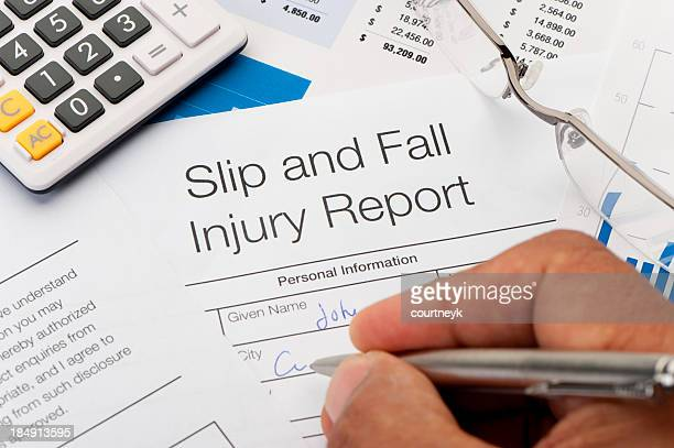 Close up of Slip and Fall injury Form