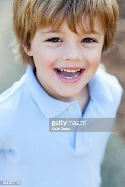 Close up of smiling Caucasian boy