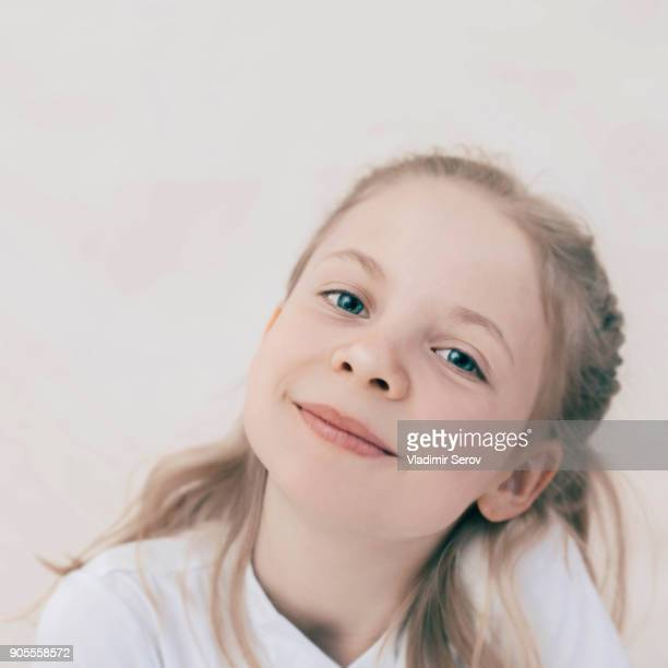 Close up of smiling Caucasian girl