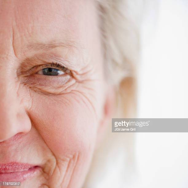 Close up of smiling Caucasian woman