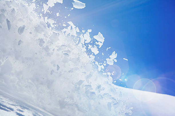 Close Up Of Snow Covered Hill With Powder Snow And Ice Mid Air Wall Art