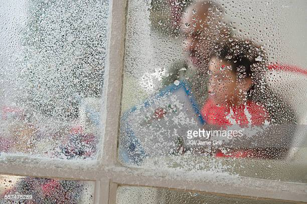 Close up of snow on window at Christmas