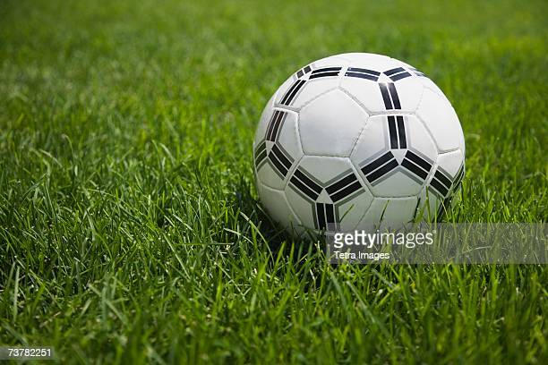 Close up of soccer ball on grass