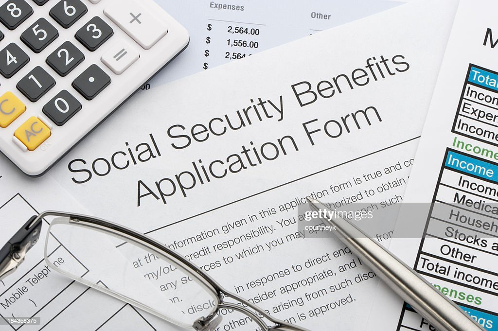 Close up of social security application : Stock Photo