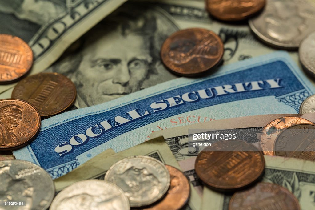 Close Up of Social Security Card with Cash : Foto de stock