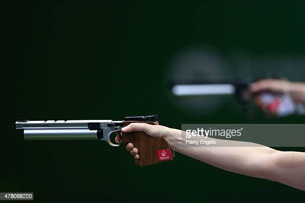 A close up of Sonia Franquet of Spain's pistol during the Mixed Team 10m Air Pistol Semi Finals during day ten of the Baku 2015 European Games at the...