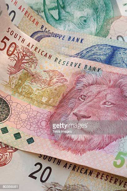 close up of south african currency - south african currency stock photos and pictures