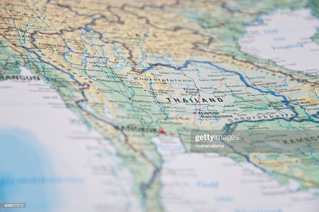Close Up of south east asia map. : Stock Photo