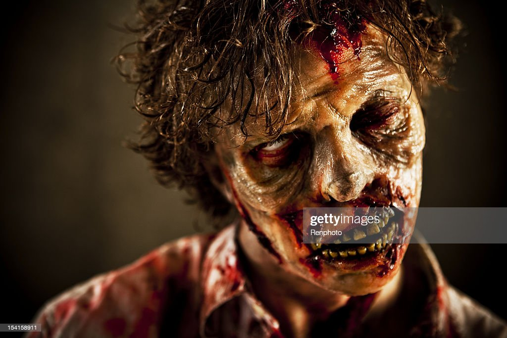 Close Up of Special Effects Zombie Face and Makeup : Stock Photo