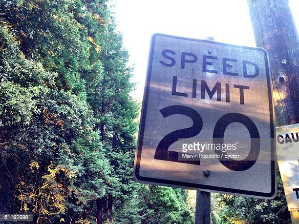 Close up of speed limit sign