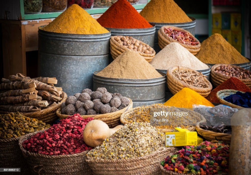 Close up of spies in a market stall in Djemaa el Fna, Marrakech, Morocco : Stock Photo