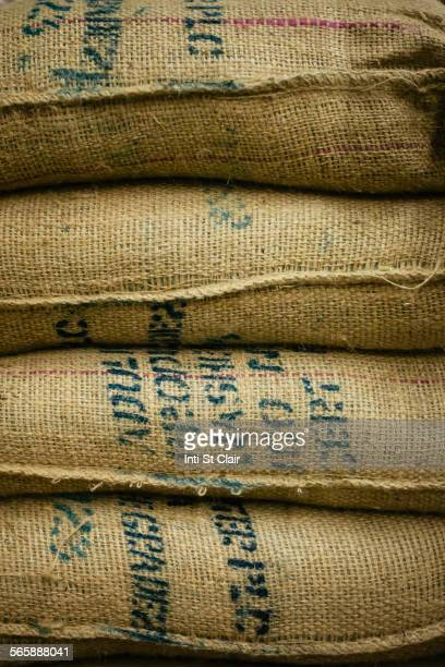 Close up of stack of burlap sacks