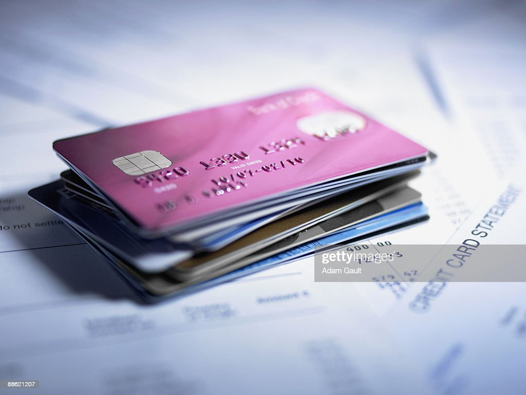 Close up of stack of credit cards : Stock Photo