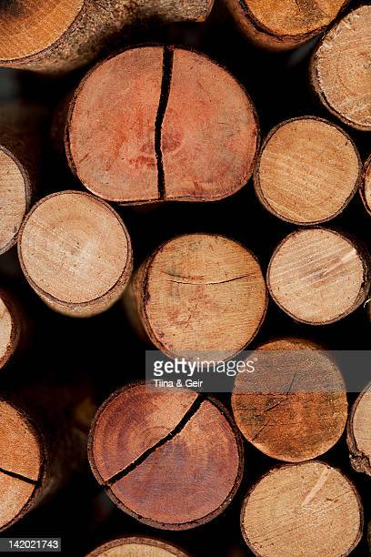 Close up of stacked logs